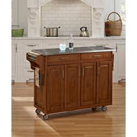 Gracewood Hollow Defoe Oak Finish Stainless Top Kitchen Cart