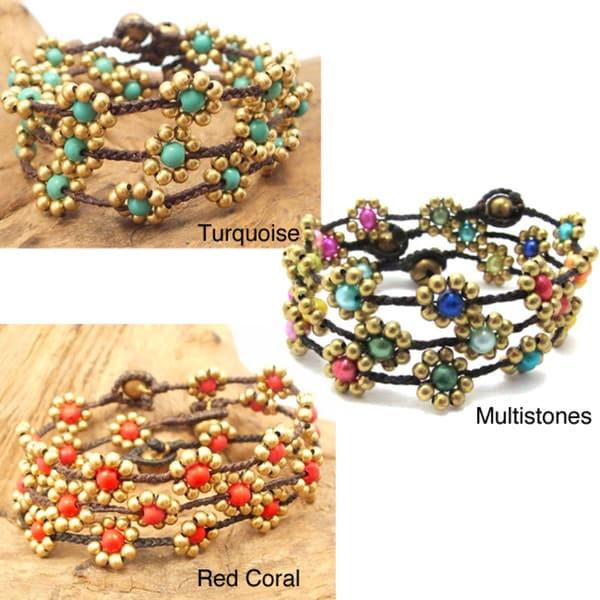 Sweet Flower Brass Beads Bracelet (Thailand)