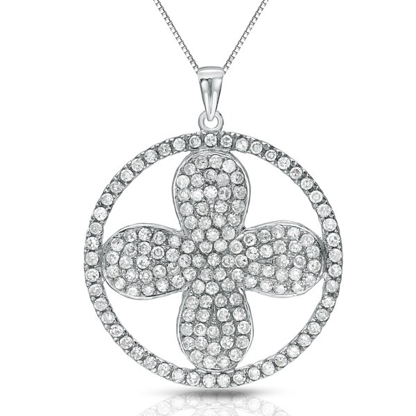 Auriya 14k White Gold 3/4ct TDW Diamond Flower in Circle Necklace (G-H, I1-I2)