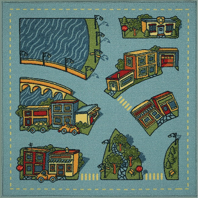 Somette Tufted Riverside Road Map Rug (3' x 3')