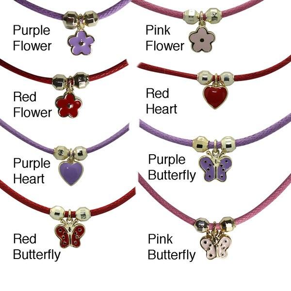Gioelli 18-karat Gold-overlay Enamel Heart Children's Colored Cord Necklace