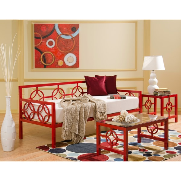 Medallion Salsa Red Twin Daybed and Memory Foam Mattress