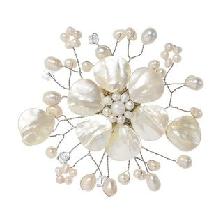 Handmade Beautiful Mix of Light Shell, Crystal & White Pearl Flower Blossom Brooch Pin (Thailand)