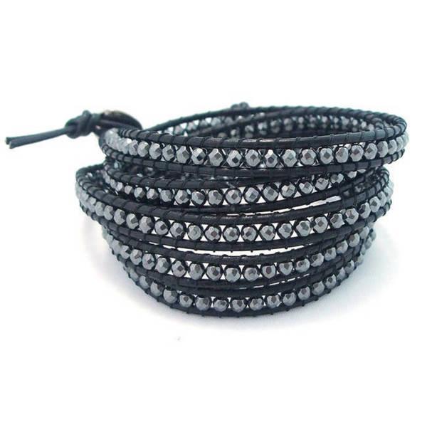 Handmade Leather Gemstone Facets Wrap Bracelet (Thailand)