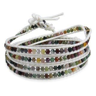 Handmade Leather Gemstone Facets Wrap Bracelet (Thailand) (3 options available)