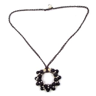 Handmade Moon Cluster Black Onyx-Silver Beads Accents Cotton Rope Necklace (Thailand)