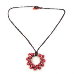 Moon Cluster Red Coral-Silver Beads Accents Cotton Rope Necklace (Thailand)