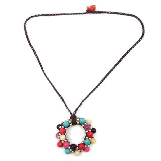 Handmade Moon Cluster Multi Gems-Silver Beads Accents Cotton Rope Necklace (Thailand)