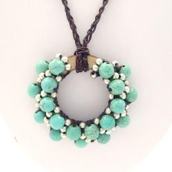 Moon Cluster Turquoise-Silver Beads Accents Cotton Rope Necklace (Thailand)