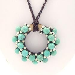 Handmade Moon Cluster Turquoise-Silver Beads Accents Cotton Rope Necklace (Thailand)