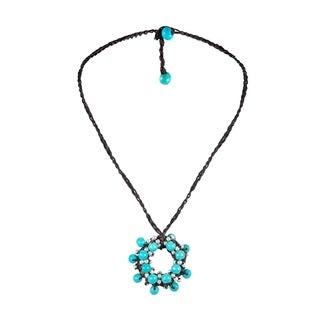 Handmade Moon Cluster Turquoise Silver Beads Accents Cotton Rope Necklace Thailand