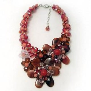 Handmade Stunning Cherry Mix Agate Flower Statement Necklace (Thailand)