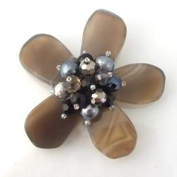 Gray Agate Floral Fashion Crystal Pin-Brooch (Thailand)