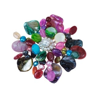 Multistone Color Blossom Floral Pin/Brooch (Thailand)
