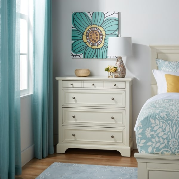 Rich White Wooden 4-drawer Storage Chest