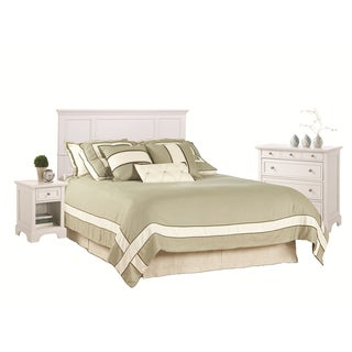 queen full white headboard night stand and chest set by home styles