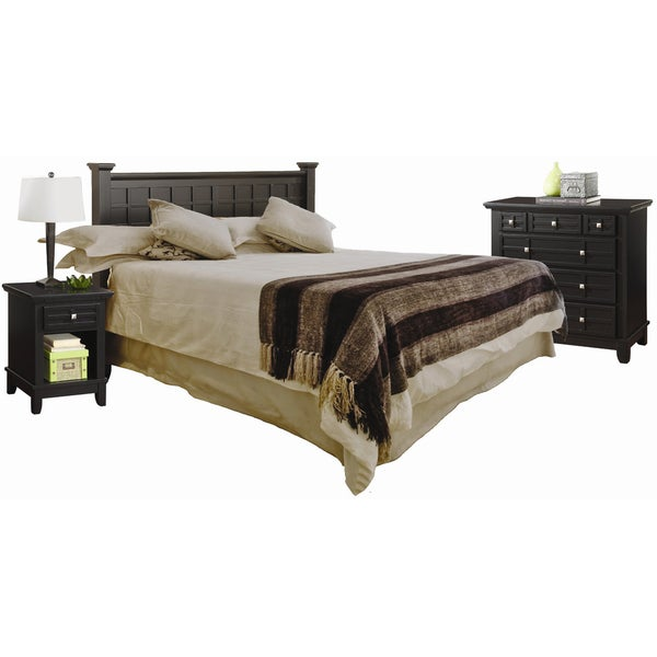 Arts and Crafts Black Queen Headboard Night Stand and Chest by Home Styles