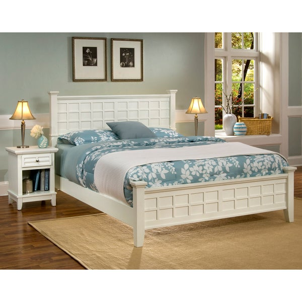 Home Styles Arts & Crafts White Queen Bed & Night Stand