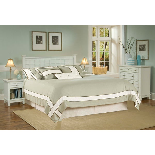Arts & Crafts White Queen/Full Headboard Night Stand and Chest Set by Home Styles