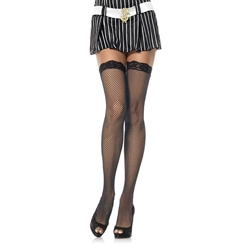 Leg Avenue Women's Black Lace-top Fishnet Stockings