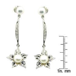 Pearlz Ocean Sterling Silver White FW Pearl Flower Dangle Earrings (6-7 mm)