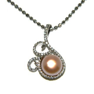 Pearlz Ocean Orange Freshwater Pearl and Cubic Zirconia Swirl Pendant Necklace