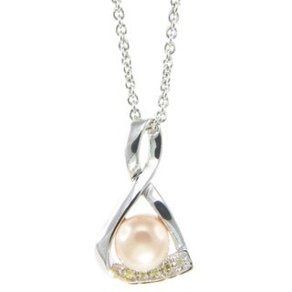 Pearlz Ocean White Freshwater Pearl and Yellow Cubic Zirconia Pendant Necklace