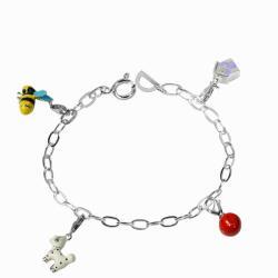 De Buman Sterling Silver Enamel Dog and Bee Charm Bracelet