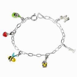 De Buman Sterling Silver Enamel Strawberry and Bee Charm Bracelet