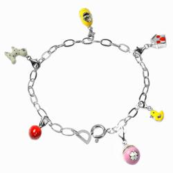 De Buman Sterling Silver Enamel Animal and House Charm Bracelet