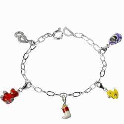 De Buman Sterling Silver Enamel Bear and Boots Charm Bracelet