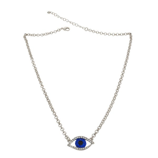 Nexte Silvertone Evil Eye Guardian Necklace