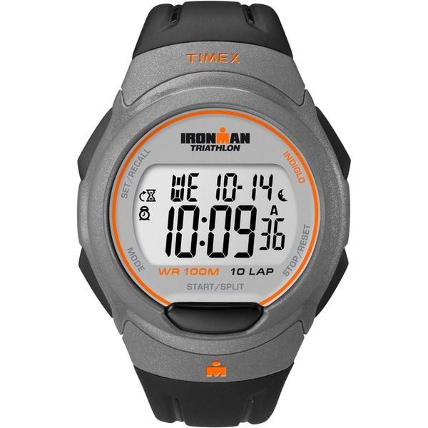 Timex Men's T5K607 Ironman Traditional 10-Lap Black/ Orange Watch