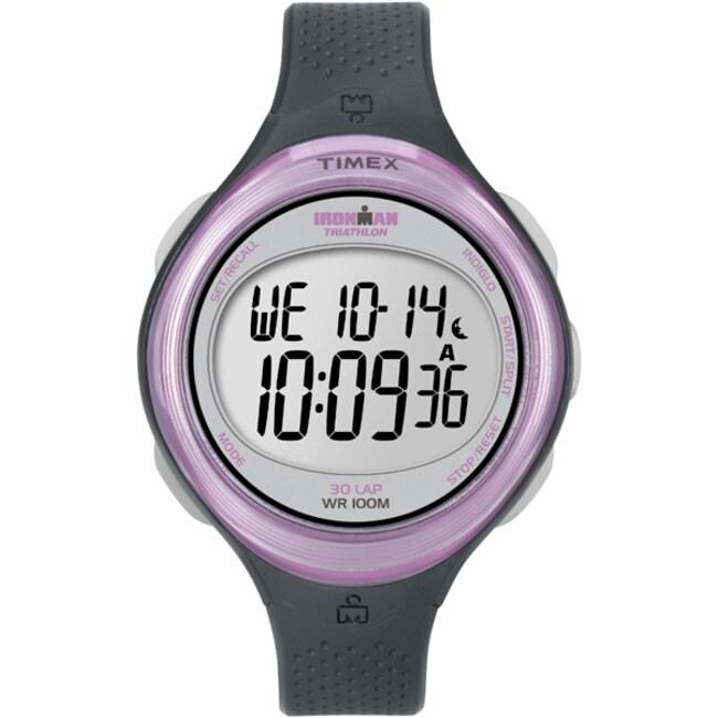 Timex T5K6009J Women's Ironman Clear View 30-lap Dark Grey/ Pink Watch