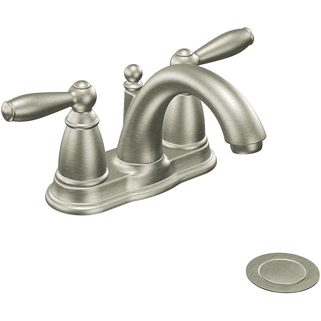 Moen 6610BN Brantford Two Handle Low Arc Bathroom Faucet Brushed Nickel