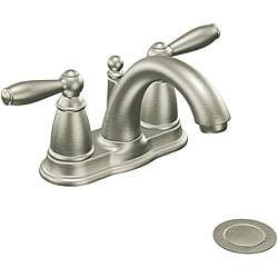 Moen 6610BN Brantford Two-Handle Low Arc Bathroom Faucet Brushed Nickel
