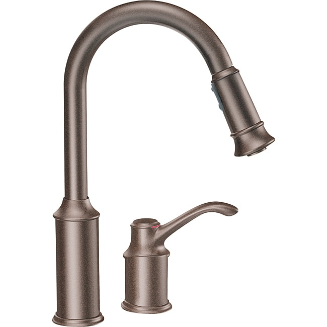 Moen 7590ORB Aberdeen One-Handle Pullout Kitchen Faucet Oil Rubbed ...