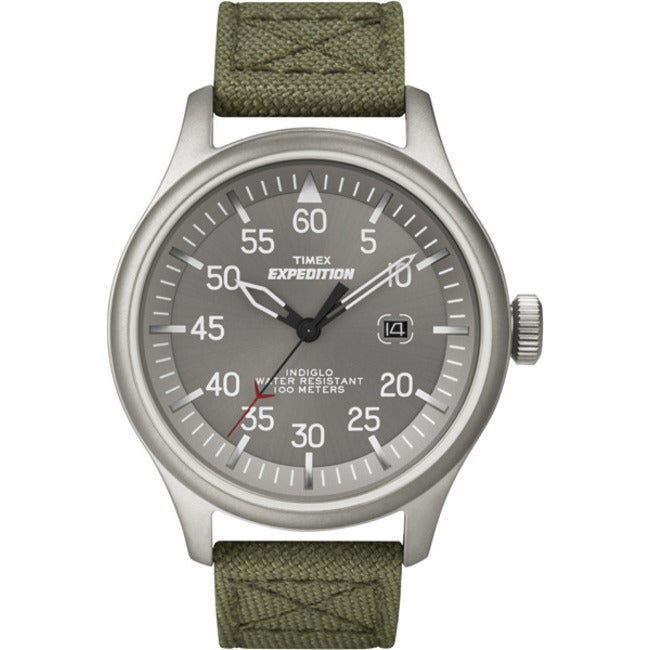 5b3040be2456 Shop Timex Men s Expedition Military Field Grey Dial Green Nylon Strap Watch  - Free Shipping On Orders Over  45 - Overstock - 6622318