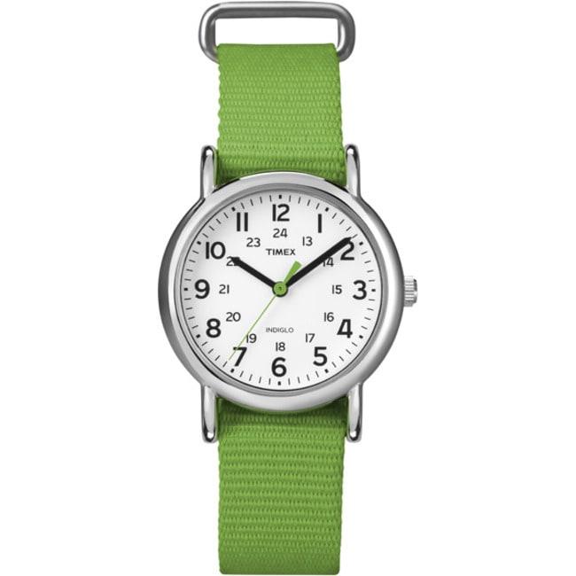 Timex T2N835KW Women's Weekender Slip Thru Green Nylon Strap Watch