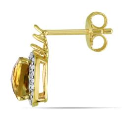Miadora 18k Gold over Silver Citrine and 1/5ct TDW Diamond Earrings (H-I, I3)
