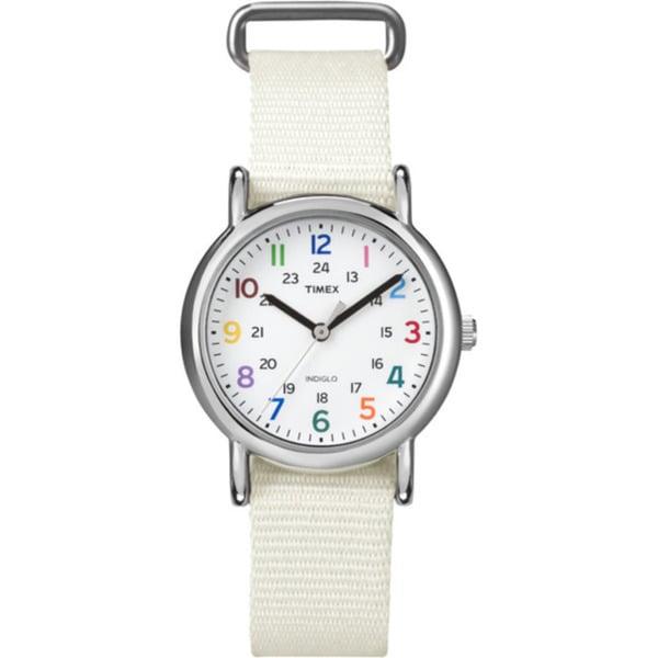 Timex Women's T2N8379J Weekender Slip-thru White Nylon Strap Watch