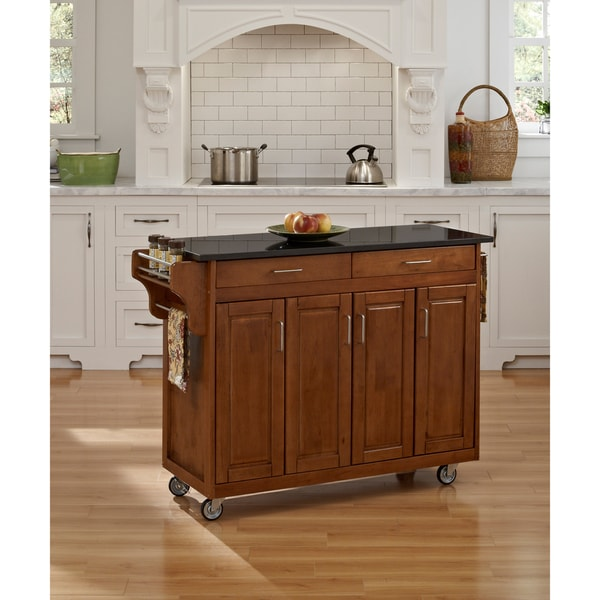 Copper Grove Puff Island Cottage Oak Finish Black Granite Top Kitchen Cart