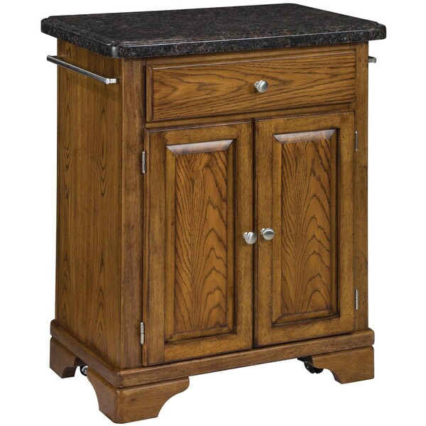 Home Styles Premium Oak with Salmon Granite Top Cuisine Cart