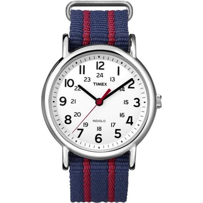 Timex T2N747KW Unisex Weekender Slip Thru Blue/ Red Stripe Nylon Strap Watch