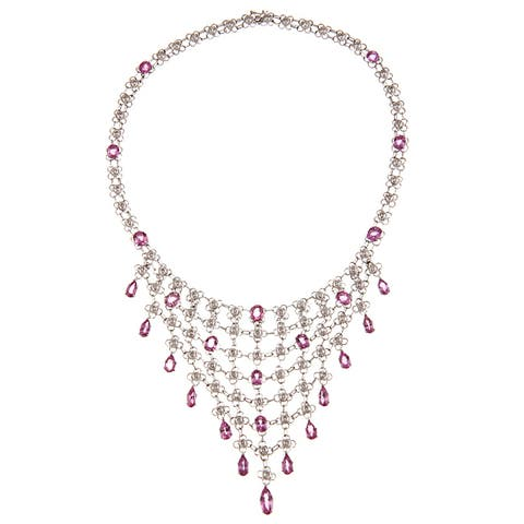 Pre-owned 14k Gold Pink Sapphire 3 1/3ct TDW Diamond Estate Necklace