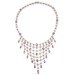 Pre-owned 14k Gold Pink Sapphire and 3 1/3ct TDW Diamond Estate Necklace (I-J, SI1-SI2)