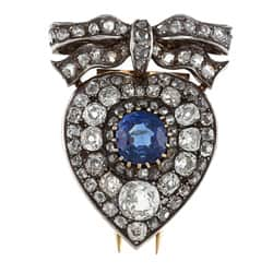 Pre-owned Silver/ Gold Sapphire and 4 1/2ct TDW Diamond 1800's Brooch (K-L, I1-I2)|https://ak1.ostkcdn.com/images/products/6622539/Silver-Gold-Sapphire-and-4-1-2ct-TDW-Diamond-1800s-Brooch-K-L-I1-I2-P14189547.jpg?impolicy=medium