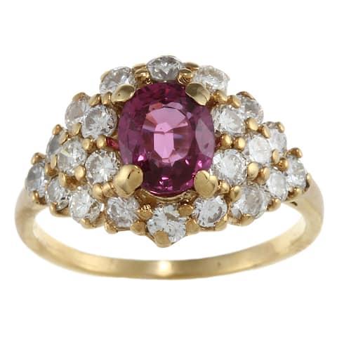 18k Gold Pink Tourmaline and 1 3/5ct TDW Diamond Estate Ring