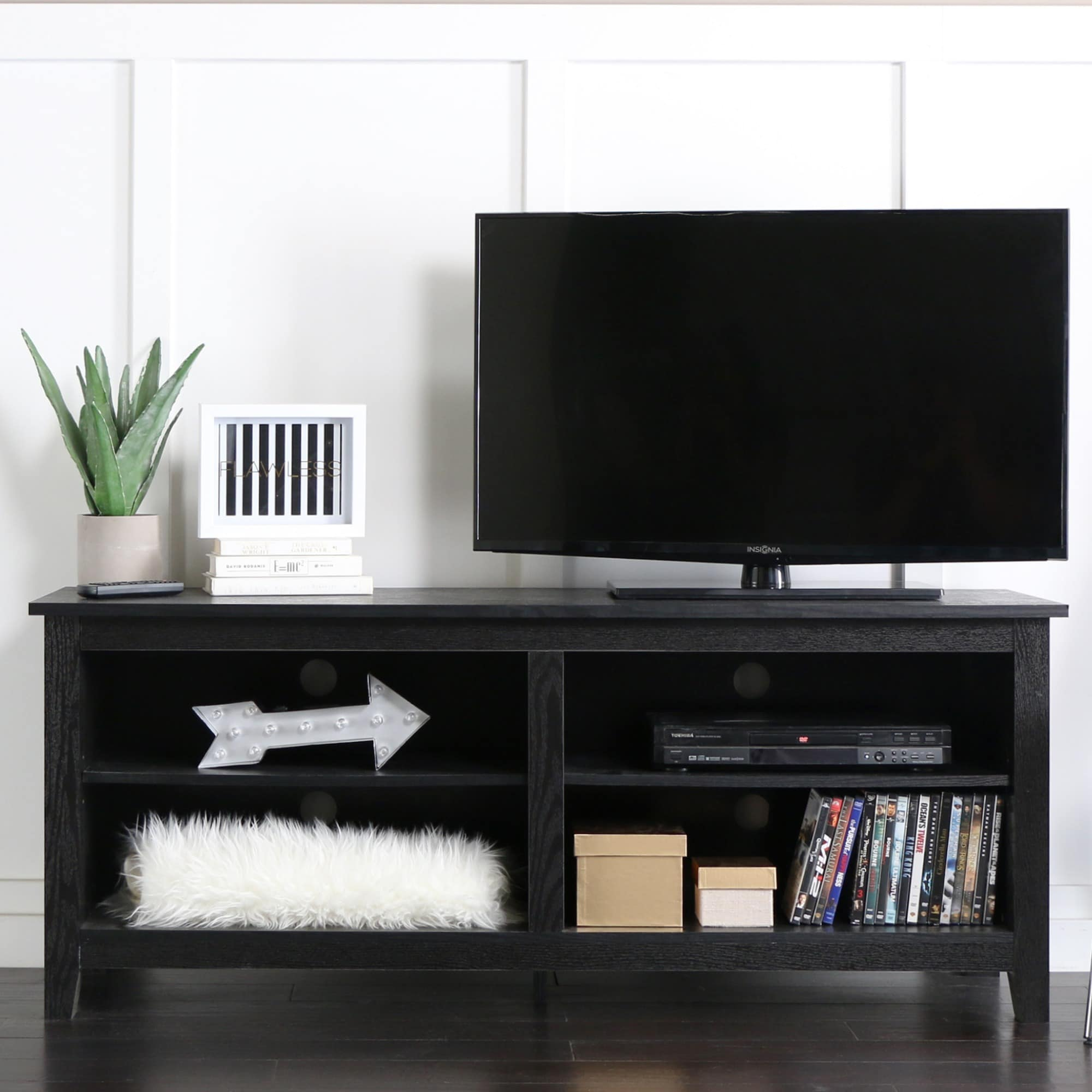 Shop Black Wood 58-inch TV Stand - Free Shipping On Orders Over $45 ...