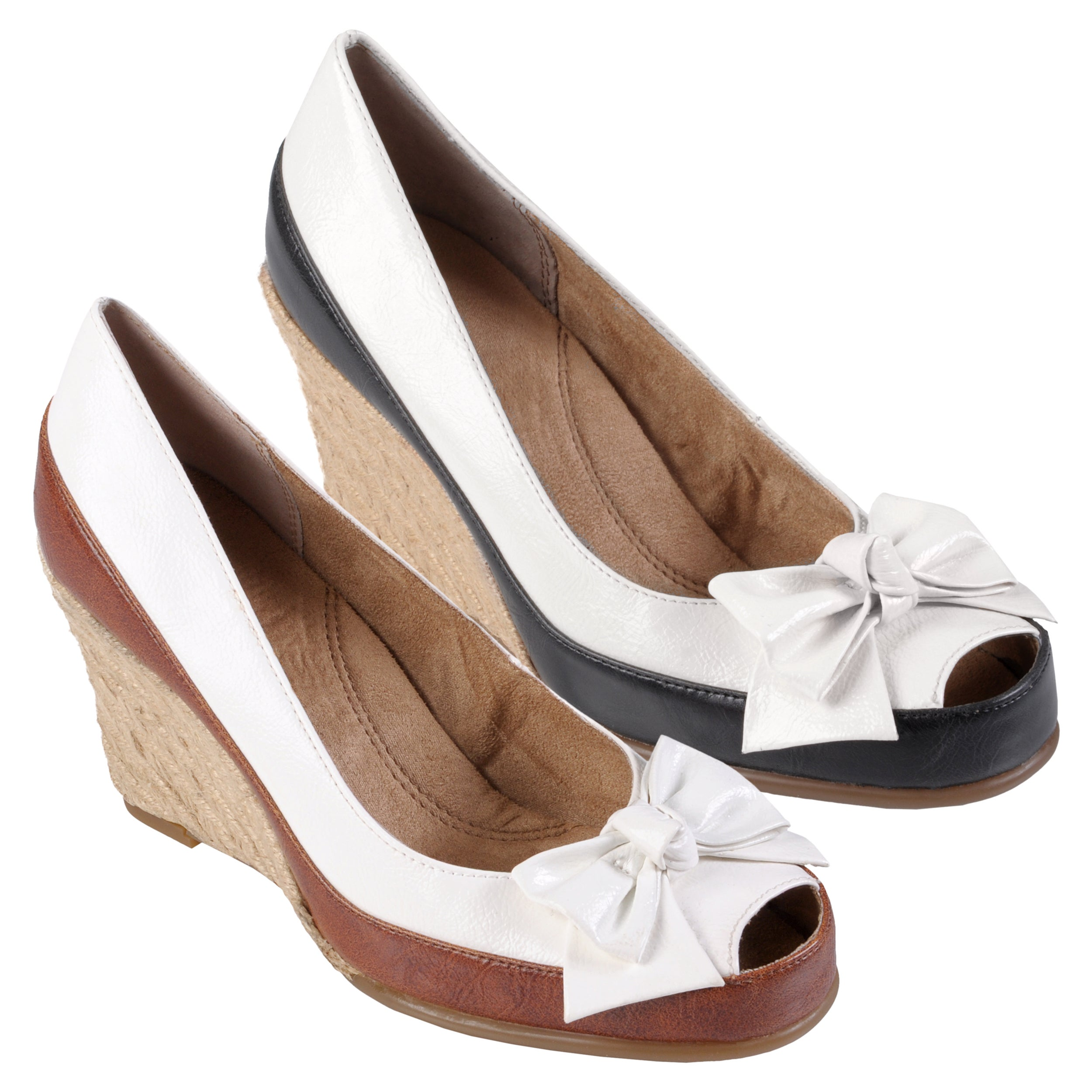 38dcc26a9c Shop Aerosoles Women's 'Wellwisher' Bow Accent Peep Toe Wedges - Free  Shipping Today - Overstock - 6622616